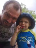 Luke Borusiewicz with his daddy at the playground on a child safety supervised visit before his death